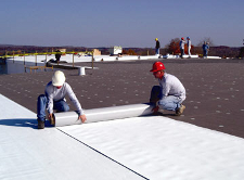 Installing TPO roof - commercial roofing project in Naperville
